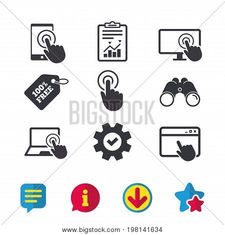 Touch screen smartphone icons. Hand pointer symbols. Notebook or Laptop pc sign. Browser window, Report and Service signs. Binoculars, Information and Download icons. Stars and Chat. Vector