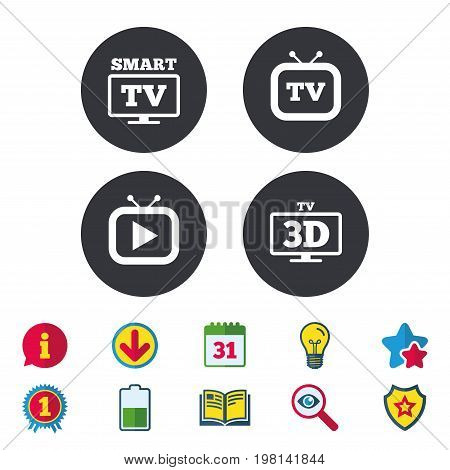 Smart 3D TV mode icon. Widescreen symbol. Retro television and TV table signs. Calendar, Information and Download signs. Stars, Award and Book icons. Light bulb, Shield and Search. Vector