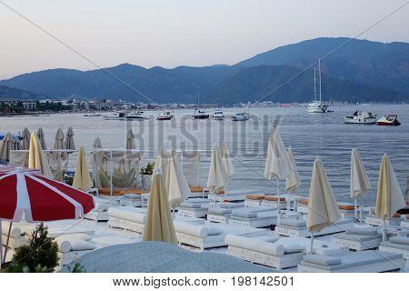 Evening on the Marmaris beach, Turkey