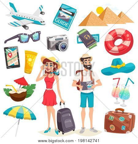 Summer holiday icons set with tourists luggage airplane mobile device egyptian pyramids and cocktails isolated vector illustration