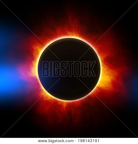 2d illustration of the beginning of a solar eclipse