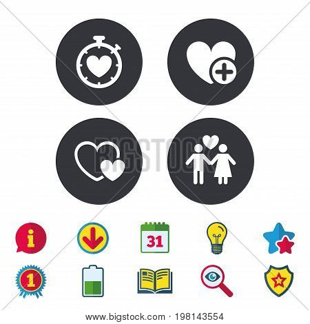 Valentine day love icons. Love heart timer symbol. Couple lovers sign. Add new love relationship. Calendar, Information and Download signs. Stars, Award and Book icons. Light bulb, Shield and Search