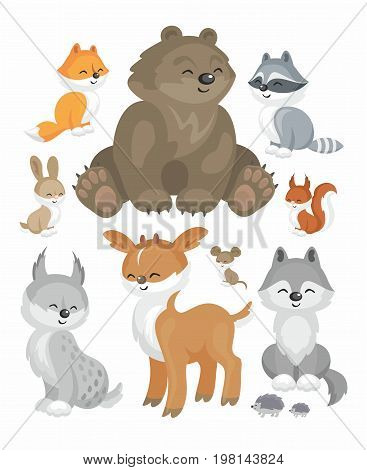 The image of cute forest animals in cartoon style. Children's illustration. Vector set.