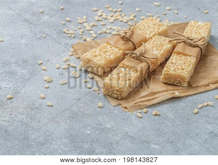 Crispy rice bars with honey and marshmallows. Healthy snack. Selective focus. Copy space
