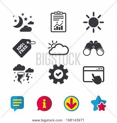 Weather icons. Moon and stars night. Cloud and sun signs. Storm or thunderstorm with lightning symbol. Browser window, Report and Service signs. Binoculars, Information and Download icons. Vector