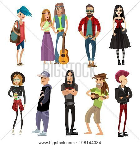 Subcultures people set in cartoon style with hippie hipster goth punk rapper and rastafarian isolated vector illustration