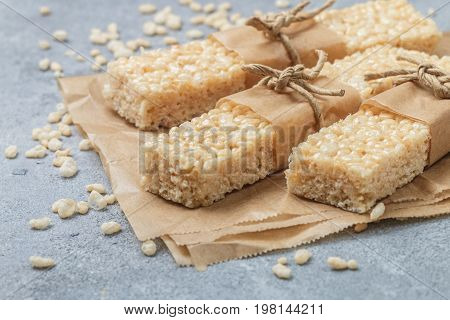 Crispy Rice Bars With Honey And Marshmallows. Healthy Snack. Selective Focus