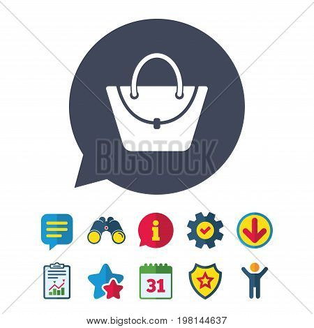 Woman bag icon. Female handbag sign. Glamour casual baggage symbol. Information, Report and Speech bubble signs. Binoculars, Service and Download, Stars icons. Vector