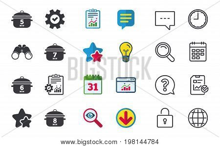 Cooking pan icons. Boil 5, 6, 7 and 8 minutes signs. Stew food symbol. Chat, Report and Calendar signs. Stars, Statistics and Download icons. Question, Clock and Globe. Vector