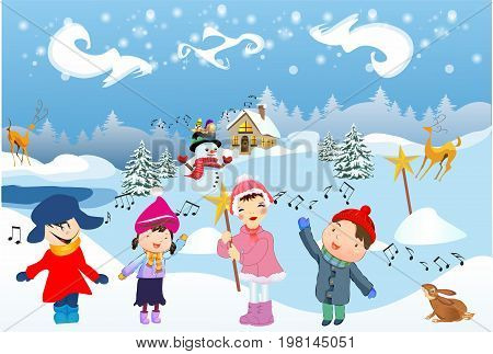 winter landscape and children who sing the Carols