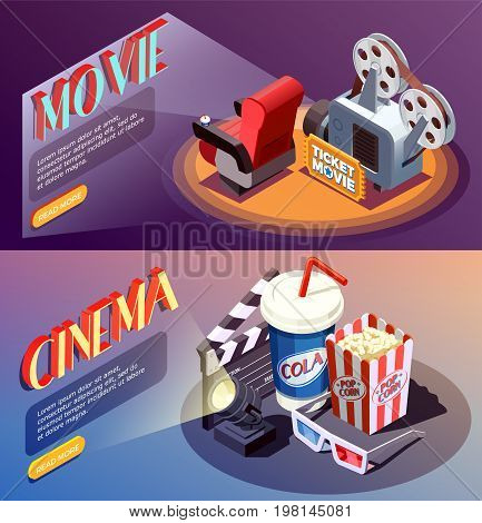 Set of two horizontal isometric cinema banners with compositions of cumbersome objects with read more button vector illustration