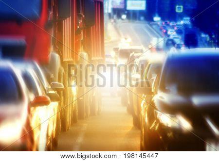 Traffic cars rush hour blurred urban background