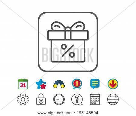 Gift box with Percentage line icon. Present or Sale sign. Birthday Shopping symbol. Package in Gift Wrap. Calendar, Globe and Chat line signs. Binoculars, Award and Download icons. Editable stroke