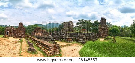 Big panorama from the old religious buildings from the Champa empire - cham culture. In my son, near Hoi an, Vietnam. World heritage site