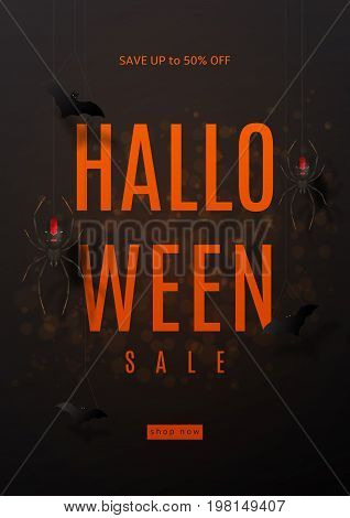 Dark flyer for halloween sale. Festive card with spiders on spider web. Vector illustration with paper bats.