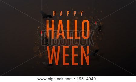 Beautiful black greeting web banner for halloween. Festive background with realistic spiders on spider web. Vector illustration with paper bats.