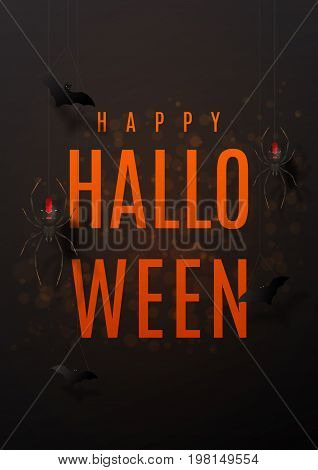 Beautiful black greeting poster for halloween. Festive background with realistic spiders on spider web. Vector illustration with paper bats.