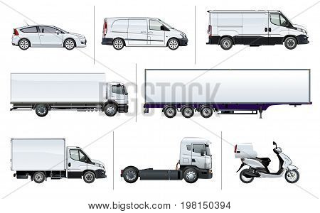 Vector realistic delivery transport template for brand identity, isolated on white. Side views. EPS-10 separated by groups and layers with transparency effects for one-click repaint and easy edit.