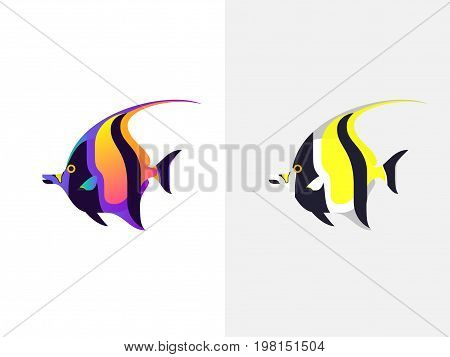 Tropical Fish. Moorish Idol .Zanclus canescens Zanclus cornutus. Vector illustration