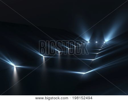 Futuristic dark podium with light and reflection background.. 3D rendering.