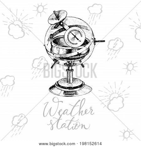 Hand drawn illustration of old vintage weather station. Predictive device.