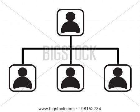 business management network hierarchy icon on white background. flat style design. social network sign.