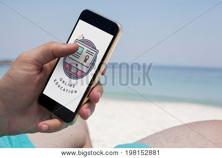 Digital composite of Person using a phone with e-learning information in the screen