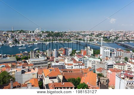 ISTANBUL TURKEY - JUNE 25 2015: Panoramic view of Istanbul and Golden Horn from Galata tower Turkey