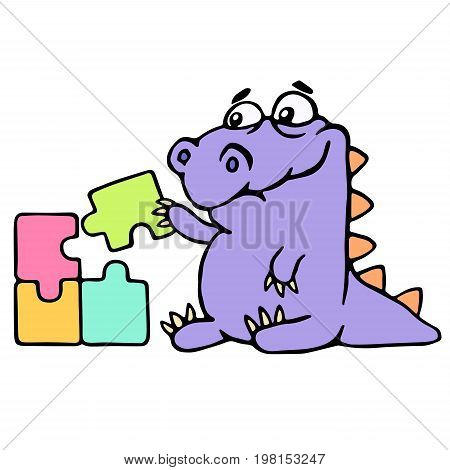 Cartoon purple croc playing with a puzzles. Vector illustration. Digital drawing cute character. poster