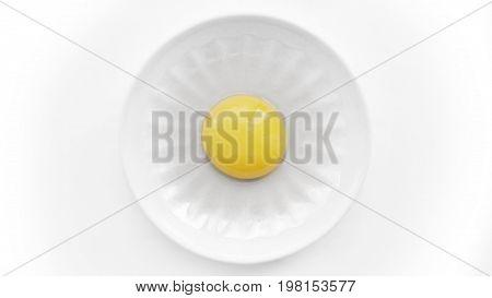 An egg yolk on a white plate,  an egg,  isolated egg yolk