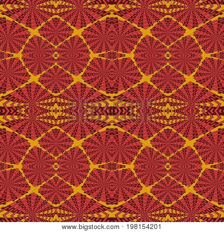 Abstract geometric background. Regular  intricate squares pattern red, orange and dark brown, symmetric and extensive.