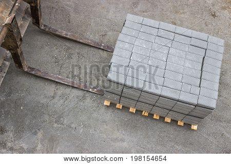 Pile Of Concrete Cubes For Sidewalk Paving