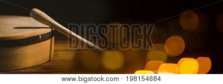 Digital composite of Drum with yellow lights