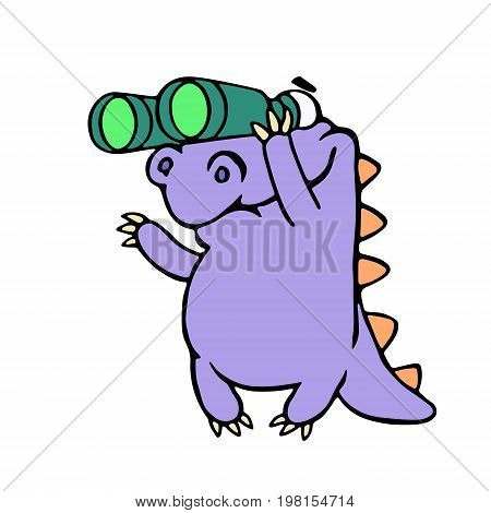 Cartoon purple croc looking through binoculars. Vector illustration. Optical device. Digital drawing cute imaginary character.