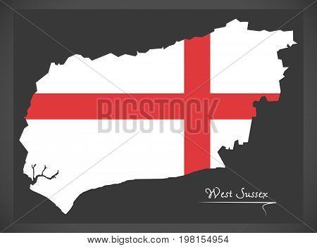 West Sussex Map England Uk With English National Flag Illustration