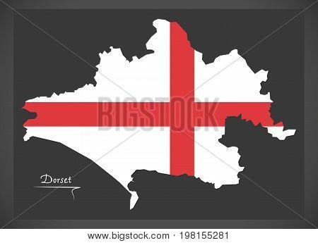 Dorset Map England Uk With English National Flag Illustration