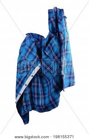 blue shirt. folded t-shirt on white background