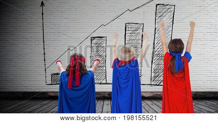 Digital composite of Superhero kids with blank room background with bar chart incremental on wall in room