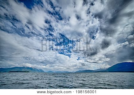 Alaska Waterscape And Mountains Near Favorite Channel And  Juneau Alaska