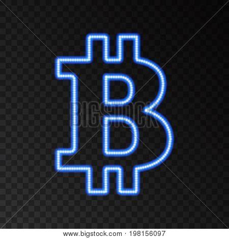 Neon bitcoin symbol isolated on black background.Blue light effect. Digital money mining technology concept. Laser beam crypto currency logo. Vector icon.