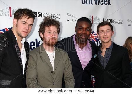 LOS ANGELES - APR 26:  James Durbin, Casey Abrams, Jacob Lusk and Scotty McCreery at the 5th Annual BritWeek Launch Party at British Consul General's residence on April 26, 2011 in Los Angeles, CA..