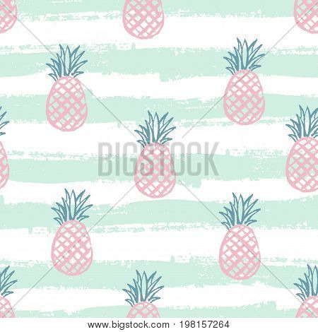 Pineapple pattern. Seamless decorative background with pineapples. Bright summer design on a background of the trend Green line. Vector illustration