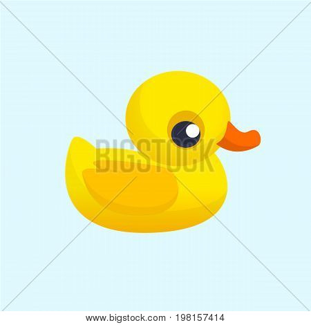 Rubber Duck Toy. Minimalistic Flat Color Icon. Cartoon vector