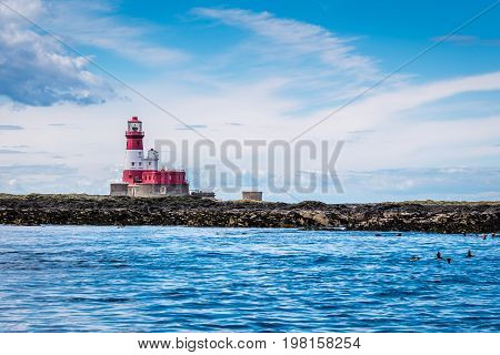 Farne Islands Longstone Rock and Lighthouse - Longstone Rock Lighthouse was made famous as the base for Grace Darling's rescue of survivors from a shipwreck