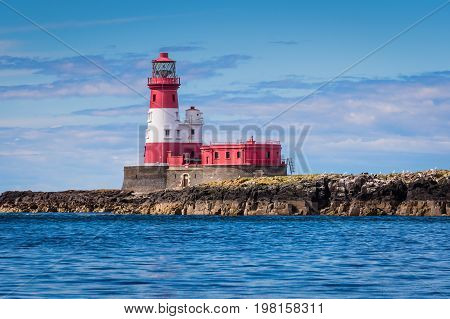 Longstone Lighthouse at Farne Islands - Longstone Rock Lighthouse was made famous as the base for Grace Darling's rescue of survivors from a shipwreck