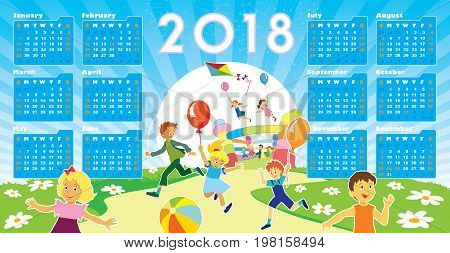 Children with smiling faces are playing in kindergarten New Calendar 2018 in the background.