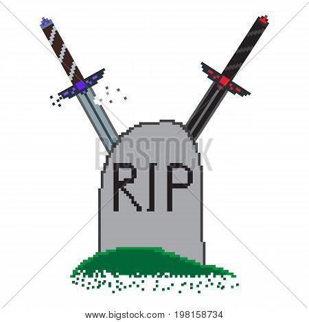 Pixel illustration for the game over screen with swords that crossed behind the grave. Light sword is broken darkness won. Picture for computer or console game