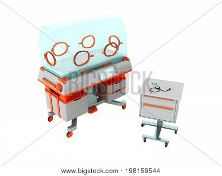Incubator For Children Orange With Bedside Table 3D Render On White Background No Shadow