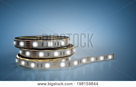 Diode Strip Led Lights Tape In Holder Close-up 3D Render On Blue  Glass Flor
