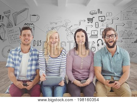 Digital composite of Group of people sitting with devices in front of room with graphics drawings